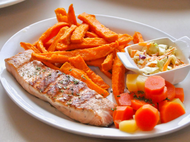 salmon and sweet potato fries